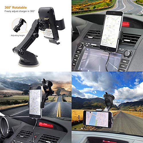 Wireless Car Charger Automatic Clamping MONOOY 10W Qi Fast Charging Car Charger Mount Compatible with iPhone Xs MAX XS XR X 8 8p, Samsung S10 S10 S9 S9 S8 S8