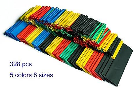 SummitLink Pack of 328 Pcs Assorted Heat Shrink Tube 5 Colors 8 Sizes Tubing Wrap Sleeve Set Combo (Tubing Assortment)