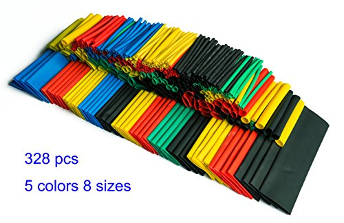 SummitLink Pack of 328 Pcs Assorted Heat Shrink Tube 5 Colors 8 Sizes Tubing Wrap Sleeve Set (Heat Shrink Sleeve)