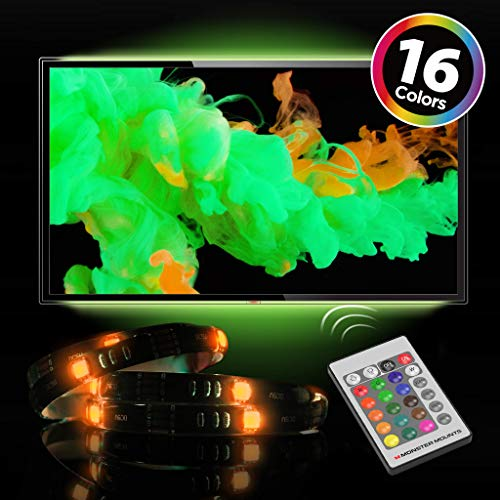 """Monster Mounts 16 Color LED TV Backlight Kit with 2 20"""" LED Strips and IR Remote Control for Home Theaters and ()"""