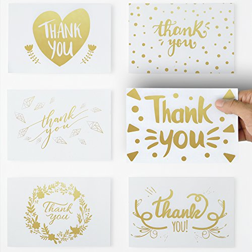 36 Unique Thank You Cards with Gold color text, 6 Elegant Greetings Design Thank You Note Cards 4 X 6 with self glued Envelopes for Birthdays,Weddings,Baby Showers,Graduations,Corporate Events. (Thank Cards Birthday You Baby)