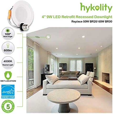tools, home improvement, electrical, recessed lighting,  housing, trim kits 10 on sale Hykolity 12 Pack 4 Inch LED Recessed Light promotion