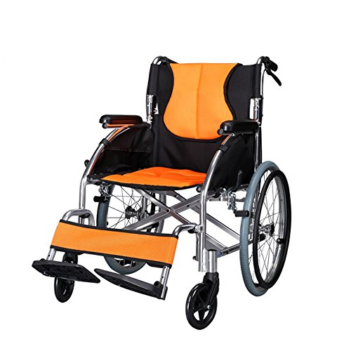 (LYYYL Wheelchair Lightweight Folding Portable Transport Chair with Bags Solid Tires Seatbelt Hand Brakes Comfortable Armrest Seat Heavy Duty Swing Away Foot Rrests for Men and Women)