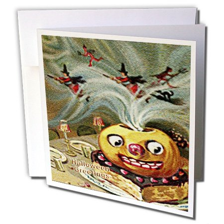 3dRose Sandy Mertens Vintage Halloween Designs - Magically Jack o Lantern on Cake with Witches and Devils (Textured) - 1 Greeting Card with envelope (gc_53708_5)