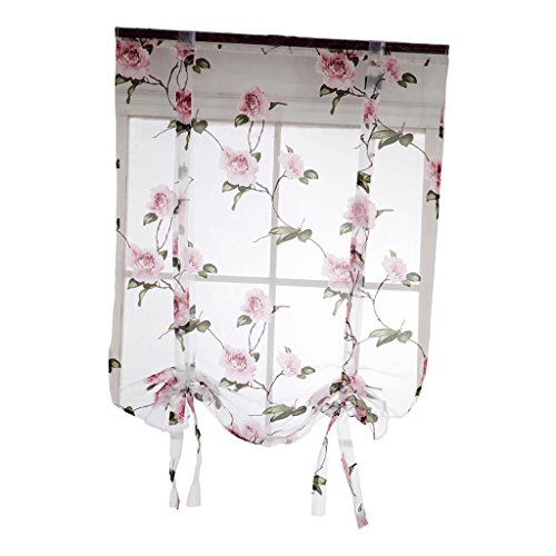 (Dolity Beauty Flower Roman Curtain Voile - Tie Up Silk Ribbon Shade - Window Valance Drape Blind for Small Window, Kitchen Bedroom with Back Tab/Rod Pocket - Pink, 80x100cm / 32x40 inch)