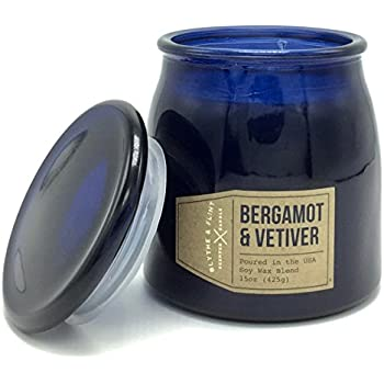 Blythe and Flint Bergamot and Vetiver Scented Candle 15 Oz in a Blue Glass Butter Jar Poured in the USA
