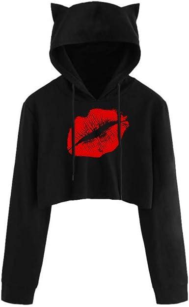 Womens Cat Print Hoodie Hooded Crop Tops Casual Long Sleeve Pullover Sweatshirt