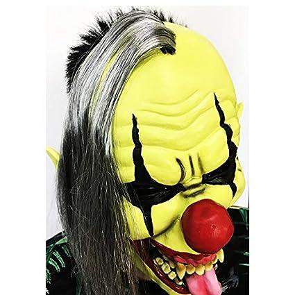 Emorias 1 Pcs Máscaras de Halloween Esqueleto Látex de Caucho Horror Cabeza Humana de Fiesta Careta - Amarillo Payaso: Amazon.es: Jardín