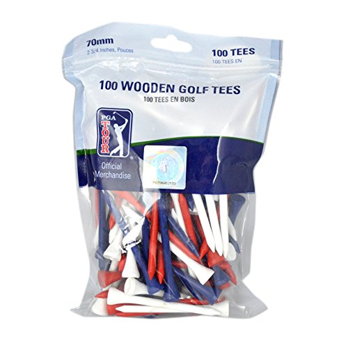 PGA Tour 100 7cm Wooden Golf Tee - Red/White/Blue