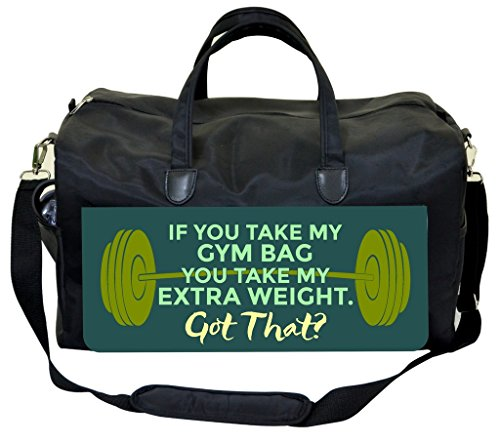 "Price comparison product image Funny Phrase-""If You Take My Gym Bag..""-Green Barbell Gym Bag"