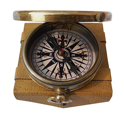 MAH ''Robert Frost Poem'' Engraved Antiquated Finish Brass Compass with Case. C-3241 by MAH