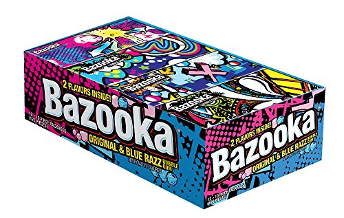 (Bazooka Original and Blue Razz Bubble Gum, 10 Count (Pack of 12))