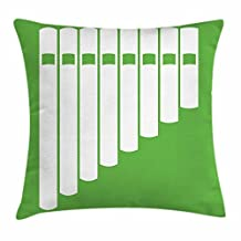 Pan Flute Throw Pillow Cushion Cover, White Abstract Panpipe Simple Icon on Green Background Peruvian Ethnic, Decorative Square Accent Pillow Case, 18 X 18 Inches, Lime Green and White