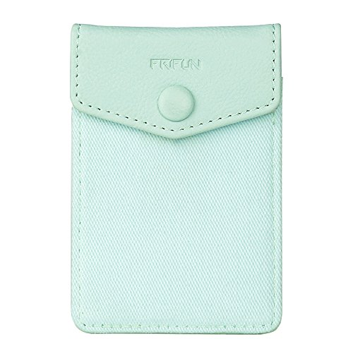 FRIFUN Cell Phone Wallet Ultra-slim Self Adhesive Credit Card Holder Stick on Wallet Cell Phone Leather Wallet For Smartphones RFID Blocking Sleeve Covers Credit Cards (Mint)
