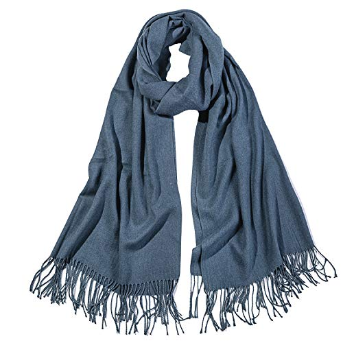 SOJOS Womens Large Soft Cashmere Feel Pashmina Shawls Wraps Winter Scarf SC3004 with Denim Blue