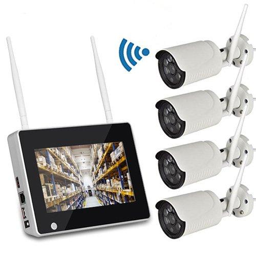 ワイヤレス防犯カメラセット NVR7インチモニター+Wi-Fi監視カメラ4台 屋外使用可 スマホアプリ対応 遠隔監視 日本語メニュー 別売HDD内蔵可 FMTCSY714 B076WM5FGF