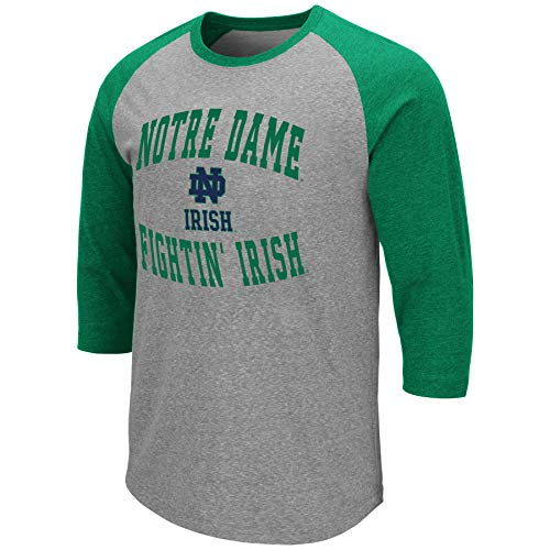Colosseum Men's NCAA-Raglan-3/4 Sleeve-Heathered-Baseball T-Shirt (Notre Dame Fighting Irish-Kelly Green, ()