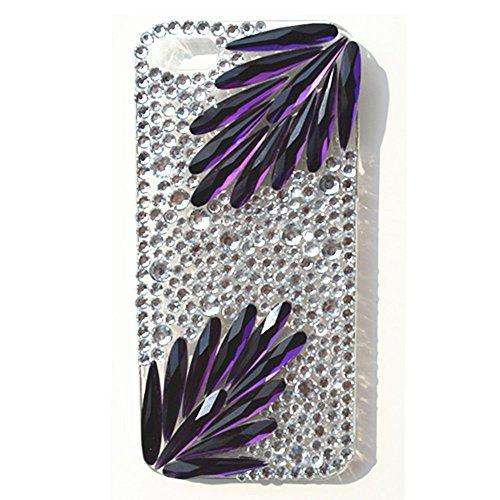 EVTECH (TM) Eleganter Luxus 3D Bling bunte Diamant-Kristallweinlese-Art-Schwarz-Rückseite Case für iPhone 4 / 4S T-Mobile Sprint AT & T Verizon (100% Handarbeit)