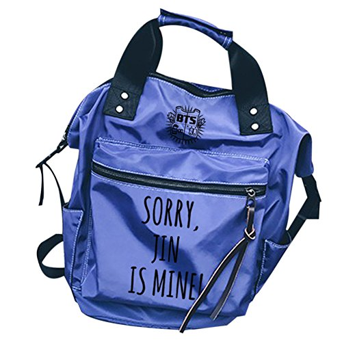 Boys Schoolbag Bangtan Fashion Casual KPOP BTS Canvas Laptop Backpack blue Jin Bags Daypack ZU55aw4qx