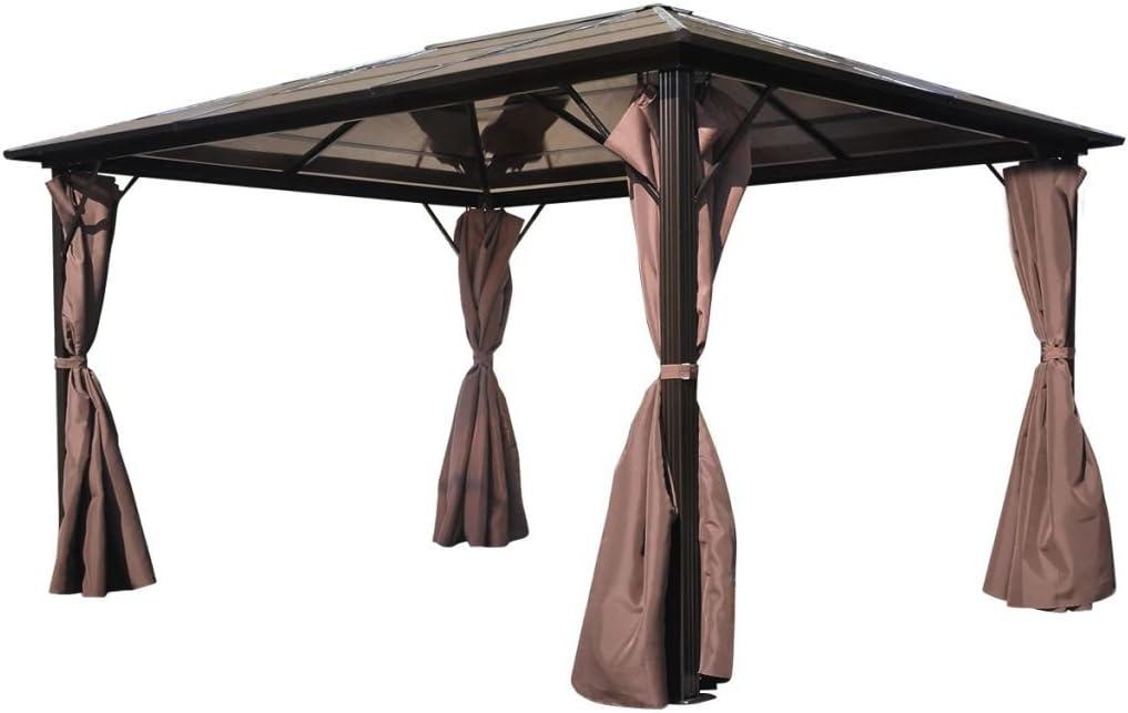 vidaXL Cenador de Jardín de Aluminio con Cortinas Marrón 400x300cm Carpa Patio: Amazon.es: Hogar