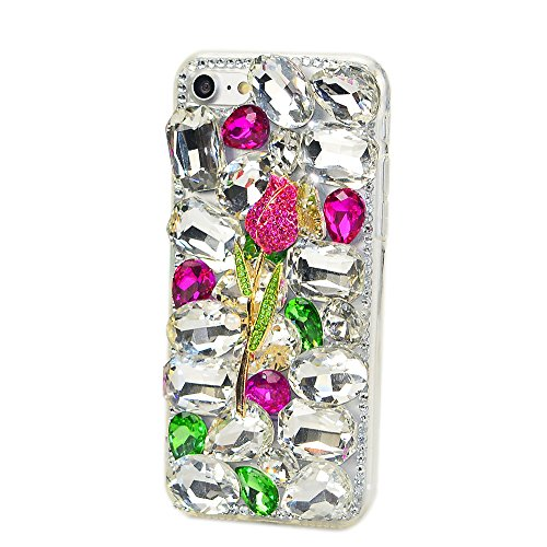 STENES iPhone 8 Plus Case - STYLISH - 100+ Bling Crystal - 3D Handmade Rose Design Protective Case For iPhone 8 Plus/iPhone 7 Plus - Hot Pink&Green