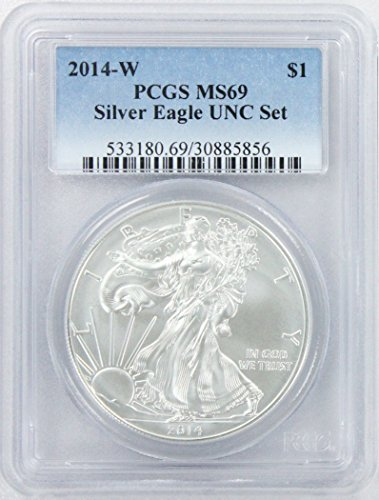 - 2014 W American Silver Eagle UNC Set Dollar MS69 PCGS