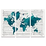 SUMGAR Large Wall Art for Living Room Canvas Painting of Modern Teal Blue Music World Map for Office