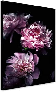 shensu Framed Canvas Wall Art Prints Fresh Floral Posters Dewy Pink Peonies Flowers Black Background Wall Decor Artwork for Modern Living Room Bedroom Bathroom Kitchen Office Home Decor 20x24inch