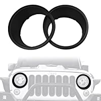 URBEST Jeep Black JK Front Headlight Cover Click-in Bezels for 2007~2018 Jeep Wrangler & Wrangler Unlimited JK - Pair