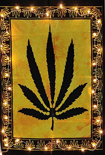 ICC Marijuana leaf Poster Cannabis leaf poster Hippie Decor Pot Flag Tapestry Wall Hanging Dorm Collage Color Me Weed Leaf Bohemian Art psychedelic Small Hippie Rasta Wall Hanging ganja 30x40 inches (Rasta Color Blanket)
