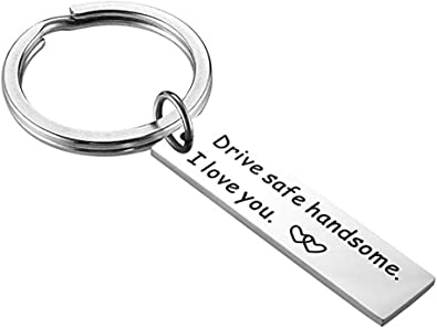 Meiligo Drive Safe Keychain Handsome I Love You Trucker Husband gift for husband dad gift valentines day stocking stuffer (Keychain - 2)