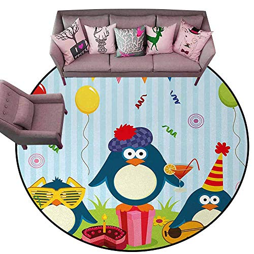 Kitchen Carpet Kids Birthday,Cartoon Style Penguin Party with Flags Cakes and Surprise Box,Light Blue and Fern Green Diameter 72