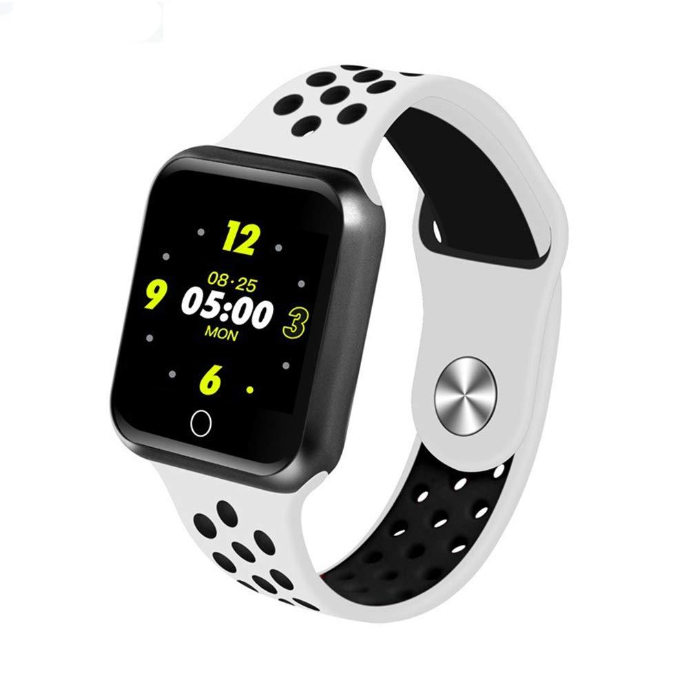 Inseguitore di fitness, bracciale sportivo smart touch con pedometro monitoraggio della pressione arteriosa della frequenza cardiaca modalità multi-sport monitoraggio del sonno IP67 impermeabile,bianca