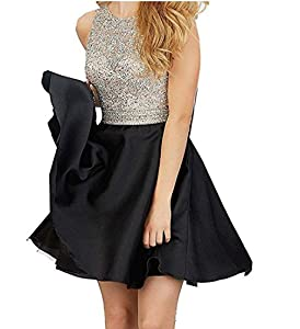 TANGFUTI Homecoming Dresses Short Beading Satin Prom Dresses Open Back 107