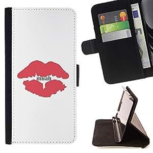 Momo Phone Case / Flip Funda de Cuero Case Cover - Beso Labios rojos minimalista Blancas - Samsung Galaxy S6
