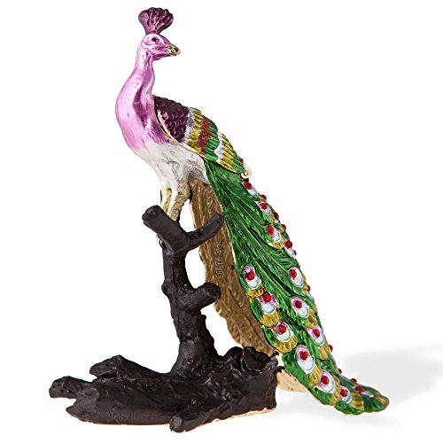 Hand Painted Regal Peacock on a Perch Ornament/Trinket Box Embellished with 24K Gold and Crystals by Matashi