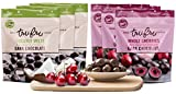 Tru Fru Dark Chocolate Dipped Freeze-Dried Fruit, Paradise Pack, 6-Pack Case (3-Coconut packs and 3-Cherry packs)