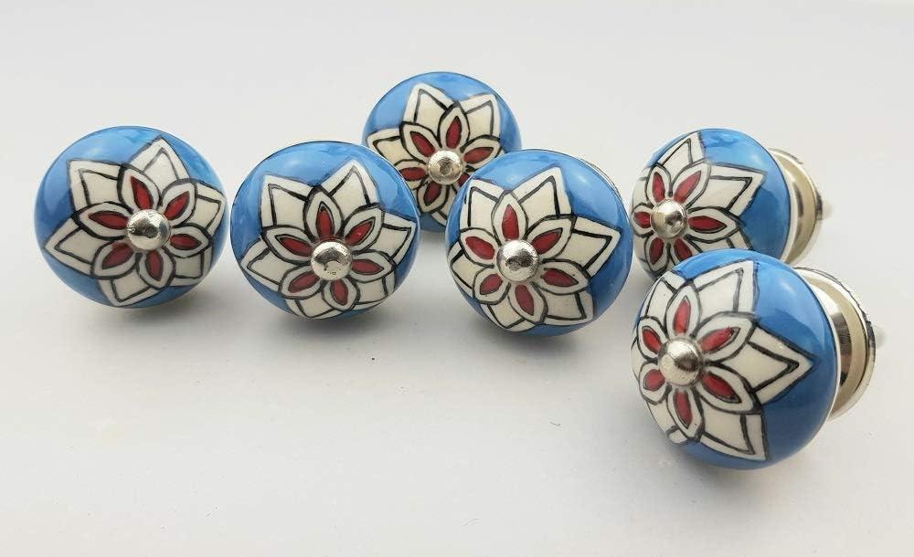 Juego de 6 pomos de cer/ámica para muebles n./º 113 047JKGH de porcelana pintada a mano en color azul y rojo