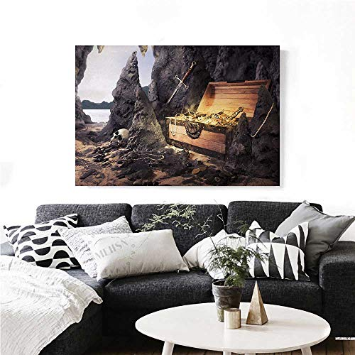 homehot Fantasy Wall Paintings Open Treasure Chest with Golds and Sword in Cave Pirate Fairy Illustration Print On Canvas for Wall Decor 24