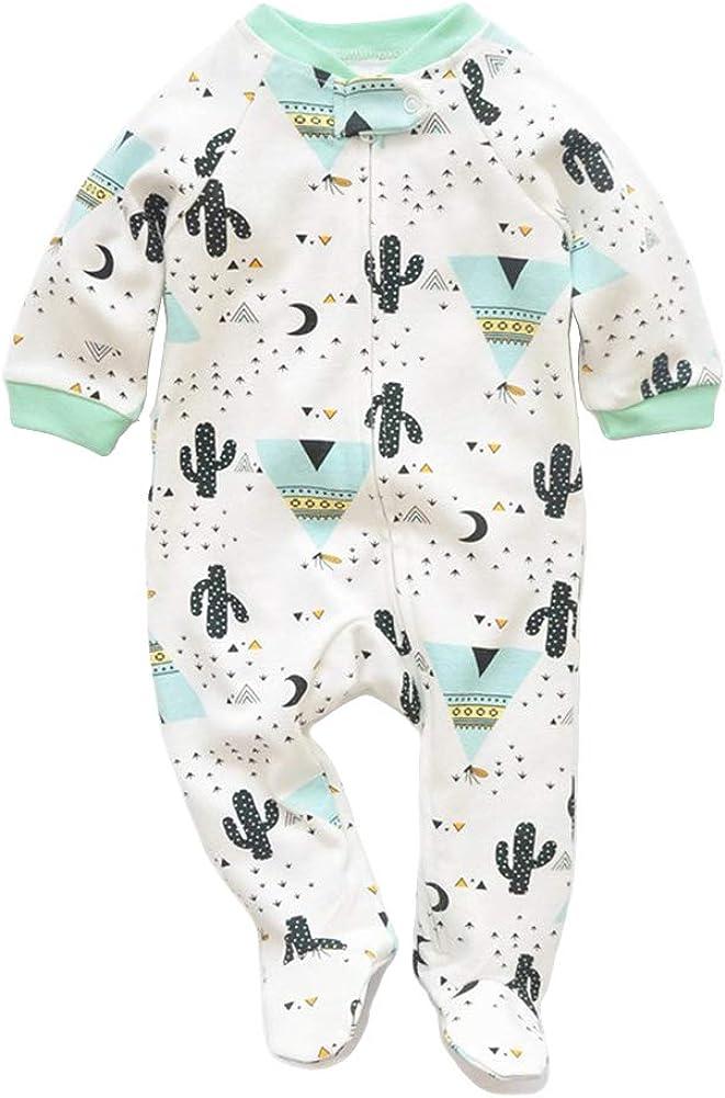 JunNeng Newborn Baby Cotton Footies Romper Infant Long Sleeve Animal Plant Printed Sleeper Pajamas One Piece: Clothing