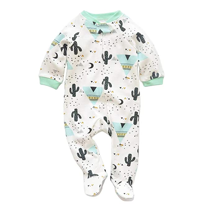 JooNeng Newborn Baby Cotton Footies Romper Infant Long Sleeve Animal Plant Printed Sleeper Pajamas Onsies,Cactus, 9-12 Months best infant pajamas