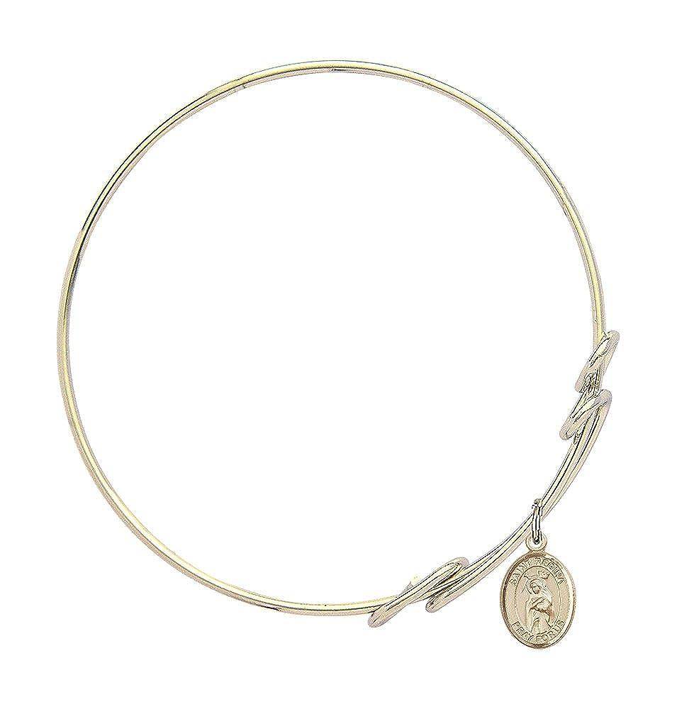 St Regina Charm On A 8 1//2 Inch Round Double Loop Bangle Bracelet