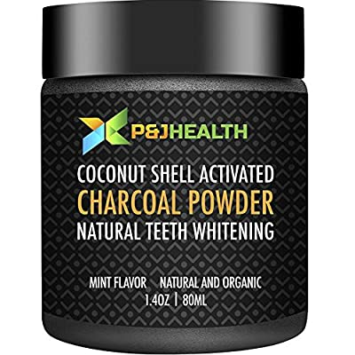 P & J Health Teeth Whitening Coconut Activated Charcoal Powder Natural Mint Flavor (1.4 Oz)