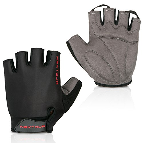 NEXTOUR Cycling Gloves Mountain Bike Gloves Half Finger 10 Choice Road Racing Riding Gloves with Light Silicone Anti-Slip Shock-Absorbing Gel Pad Biking Gloves for Men and Women (04-Black