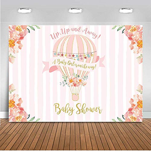 Mehofoto Up Up And Away Baby Shower Backdrop Hot Air Balloon Photography Background 7x5ft Vinyl Pink Hot Air Balloon Baby Shower Party Banner Backdrops