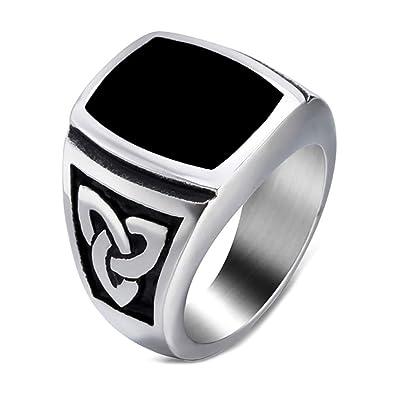 4cbaa2f85e45 BOBIJOO Jewelry - Bague Chevalière Homme Cabochon Acier Argent Noeud  Celtique Triquetra Email Noir - 56