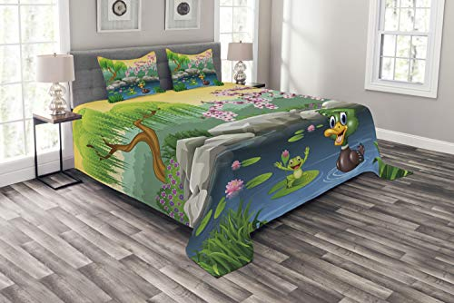 Frog Quilted (Ambesonne Cartoon Bedspread Set Queen Size, Vector Cute Ducks Frogs in a Lake Pond Trees Image Kids Nursery Design Artwork, 3 Piece Decorative Quilted Coverlet with 2 Pillow Shams, Multicolor)