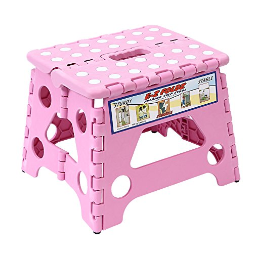 Maddott Super Strong Folding Step Stool for Adults and Kids, 8x6x7.5inch, Holds up to 180Lb, Pink For Sale