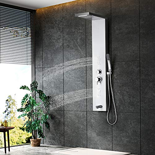 Shower Panel Multifunctional Shower Panel system: Rainfall Waterfall Spout, 2Massage Jets, Tub Spout and Hand Shower, TZ5802-B 304 Stainless Steel Shower Panel...
