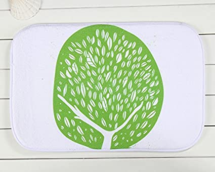 Amazon.com: Home Doormat White Background Color Green Trees ...